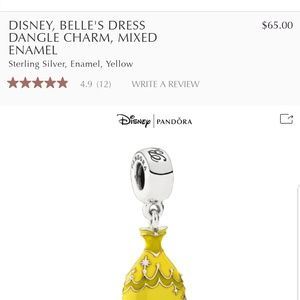 Pandora /Disney Belle dress dangle charm